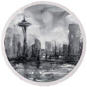 Seattle Skyline Painting Watercolor  Round Beach Towel