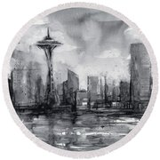 Seattle Skyline Painting Watercolor  Round Beach Towel by Olga Shvartsur