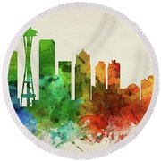 Seattle Skyline Panorama Uswase-pa03 Round Beach Towel by Aged Pixel