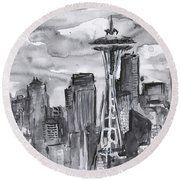 Seattle Skyline Space Needle Round Beach Towel by Olga Shvartsur