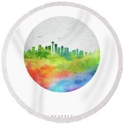 Seattle Skyline Uswase20 Round Beach Towel by Aged Pixel