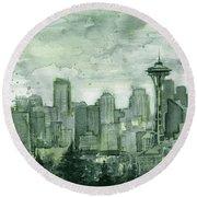Seattle Skyline Watercolor Space Needle Round Beach Towel