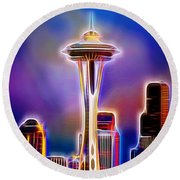 Aaron Berg Photography Round Beach Towel featuring the photograph Seattle Space Needle 1 by Aaron Berg