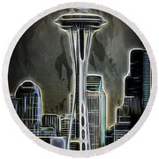 Aaron Berg Photography Round Beach Towel featuring the photograph Seattle Space Needle 2 by Aaron Berg