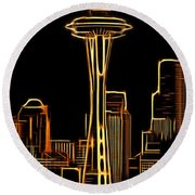 Aaron Berg Photography Round Beach Towel featuring the photograph Seattle Space Needle 3 by Aaron Berg