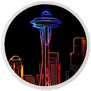 Aaron Berg Photography Round Beach Towel featuring the photograph Seattle Space Needle 4 by Aaron Berg