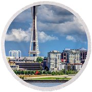 Seattle Space Needle Hdr Round Beach Towel