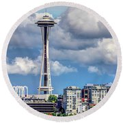 Seattle Space Needle Hdr Round Beach Towel by Rob Green