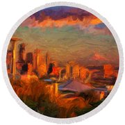 Seattle Sunset 1 Round Beach Towel