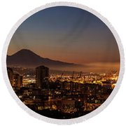 Seattle Warm Sunrise From Kerry Park Round Beach Towel by Mike Reid