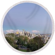 Seattle Washington City Skyline And Puget Sound View Round Beach Towel