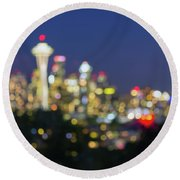 Seattle Washington City Skyline At Dusk Out Of Focus Bokeh Round Beach Towel