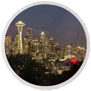 Seattle Washington City Skyline At Dusk Panorama Round Beach Towel