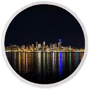 Seattle, Washington Skyline #2 Round Beach Towel