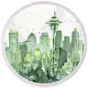 Seattle Watercolor Round Beach Towel