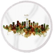 Round Beach Towel featuring the mixed media Seattle Watercolor Skyline Poster by Marian Voicu