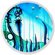 Round Beach Towel featuring the painting Seaweed - Art By Dora Hathazi Mendes by Dora Hathazi Mendes