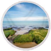 Round Beach Towel featuring the photograph Seaweed Covered. by Gary Gillette