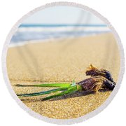 Round Beach Towel featuring the photograph Seaweed. by Gary Gillette