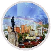 Round Beach Towel featuring the digital art Sebastian De Belalcazar by Rafael Salazar
