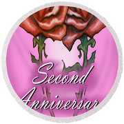 Second Anniversary Round Beach Towel