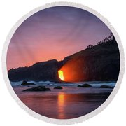 Round Beach Towel featuring the photograph Second Beach Light Shaft by Dan Mihai