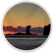 Second Beach Silhouettes Round Beach Towel