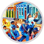 Second Line In Treme Round Beach Towel