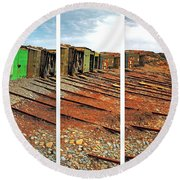 Round Beach Towel featuring the photograph Second Valley Boat Sheds by Stephen Mitchell