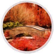 Secret Footbridge Round Beach Towel