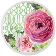 Round Beach Towel featuring the painting Secret Garden 3 - Pink English Roses With Woodsy Fern, Wild Berries, Hops And Trellis by Audrey Jeanne Roberts