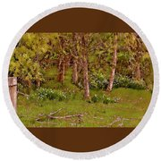 Secret Garden In The Woods Round Beach Towel
