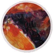 Round Beach Towel featuring the painting Secret Hideaway by Kathy Braud