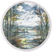 Round Beach Towel featuring the painting Secret Sailing Spot by Reed Novotny