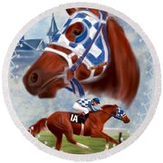 Secretariat Racehorse Portrait Round Beach Towel