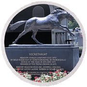 Round Beach Towel featuring the photograph Secretariat by  Newwwman