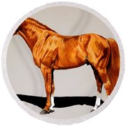 Secretariat - Triple Crown Winner By 31 Lengths Round Beach Towel by Cheryl Poland