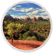 Sedona Afternoon Round Beach Towel by James Eddy