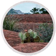Sedona Cactus Round Beach Towel by Kirt Tisdale