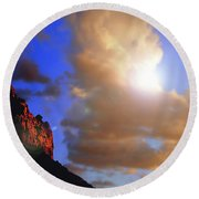 Sedona Mountain Cloud Sun Round Beach Towel