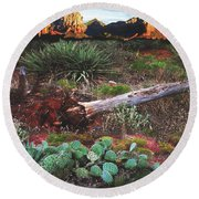 Sedona Mountain Sunrise Round Beach Towel