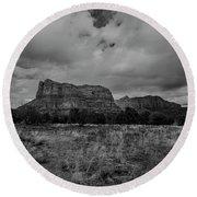 Sedona Red Rock Country Arizona Bnw 0177 Round Beach Towel by David Haskett