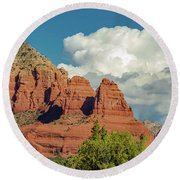 Round Beach Towel featuring the photograph Sedona, Rocks And Clouds by Bill Gallagher