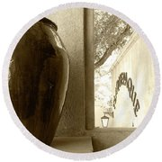 Round Beach Towel featuring the photograph Sedona Series - Jug And Window by Ben and Raisa Gertsberg