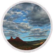 Round Beach Towel featuring the photograph Sedona Skies 0013 by Tom Kelly