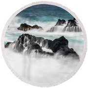 Round Beach Towel featuring the photograph Seduced By Waves by Jon Glaser