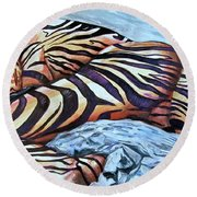 Seduction Of Stripes Round Beach Towel