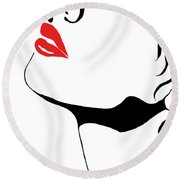 Seduction With Red Lips - Sharon Cummings Round Beach Towel by Sharon Cummings