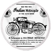 Round Beach Towel featuring the mixed media See New 1914 Indian Motocycle At The Auto Show by Daniel Hagerman