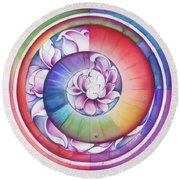 Seed Of Life - Mandala Of Divine Creation Round Beach Towel by Anna Miarczynska